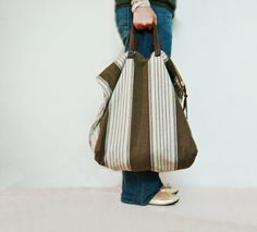 Stripe tote bag, XXL size, crafted from light weight canvas and suede leather handles, roomy and perfect for weekend traveling, beach or for young mothers: