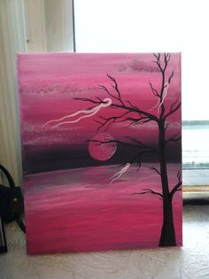 Breast cancer awareness pink tree ribbon painting