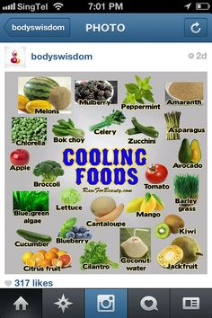 Traditional Chinese Medicine Cooling Foods www.facebook.com/thehotmombod www.thehotmombod.com