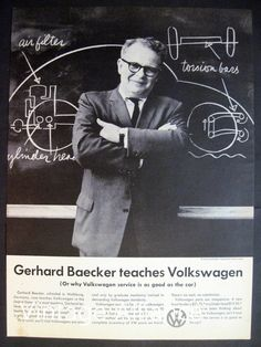 Volkswagen Bug on chalkboard German Teacher Mechanic 1959 Print Ad