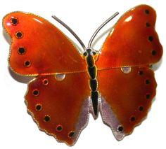 Sterling Silver Enamel Dark Orange White Black Butterfly Brooch