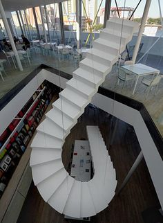 White suspension staircase By Lang Baumann