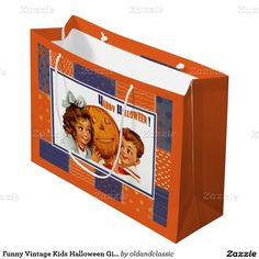 Happy Halloween. Funny Vintage Kids Halloween Gift / Favor Treat Paper Bags for kids. Matching cards, postage stamps, Halloween Party Invitations and other products available in the Holidays / Halloween Category of the oldandclassic store at zazzle.com