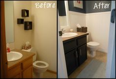 Cheap and easy half bath makeover Home Renovation, Home Remodeling, Home Upgrades, Kitchen Upgrades, Diy Home Improvement, Cheap Home Decor, Home Projects, Sweet Home, Awesome