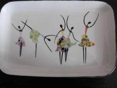 Plateau rectangulaire en porcelaine peinte main : 5 danseuses