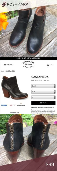 """🌻KORK-EASE Castenada Black Shortie Boots Wm. 11!! Sold Out In Stores! Check out these Super Cute """"Castenada"""" Black Shortie Boots by Kork-Ease in Women's Size 11!!! These boots look almost brand new. Leather Upper & Balance is Man-Made Materials. Cool-looking brown color adorns the heels and trim of boot. Zipper down the back makes these easy to get into. See stock (2nd) Photo. Retail is $190+Tax. Pay less here! Since Poshmark receives 20% of sales amount I can't sell cheaper now. Thank you…"""