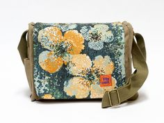 Claire - retro canvas saddlebag upcycled with original vintage fabric. - pinned by pin4etsy.com