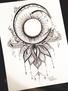 Print of original design drawn in pen and ink/mixed media.  High quality resolution on heavy-weight card stock paper.  Unframed.  Please allow 1-3 #MoonTattooIdeas