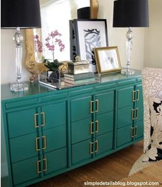 Notice how the drawer pulls are paired up and used vertically to create a high end look on this dresser?