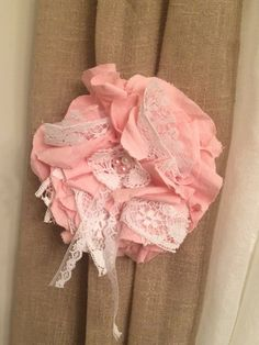 Large Linen & Lace Pink Flower with White Lace by DolledandDazzled