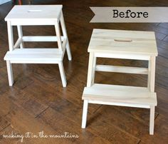 Before Ikea Stool Makeover @ making it in the mountains Ikea Step Stool, Closet Bench, Stool Makeover, Household, Creations, Mountains, Wood, Easy, Furniture