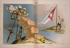 As the old Spanish throne topples, up goes the Cuban flag of Independence, 1898. Imagen: Grant E. Hamilton / Judge / Library of Congress (DP)