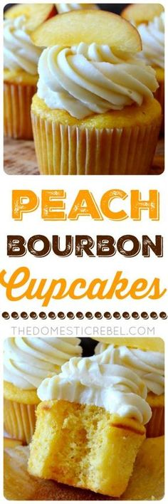 These Peach Bourbon Cupcakes couldn't be easier or more impressive to whip up! Moist and tender peach cupcakes topped with a bourbon-infused real peach buttercream frosting. So great for when peaches are in season and extra ripe! ~ The Domestic Rebel Cupcake Recipes, Baking Recipes, Cupcake Cakes, Dessert Recipes, Healthy Recipes, Cup Cakes, Rice Recipes, Cupcake Emoji, Muffin Cupcake