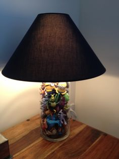 Lamp made with McDonalds toys I collected from my grandchildren when they were discarded. Makes them smile when they visit