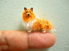 Rough Collie - Tiny Crochet Miniature Dog Stuffed Animals - Made To Order
