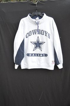 Dallas Cowboys vintage sportswear Team NFL football 1994 cowboys Nutmeg  pullover drawstring collar retro sweatshirt grey ed46f66c2