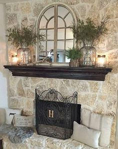 Instead of a fireplace mantle.how about this on the large wall over the couch? -whimsy girl: Our Home: {Nature Inspired Spring Mantle} Farmhouse Fireplace, Farmhouse Decor, Farmhouse Style, French Country Fireplace, Modern Farmhouse, Country French, Farmhouse Signs, Farmhouse Ideas, Modern Rustic