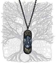 Dark tree  metal pendant nature black and white jewellery