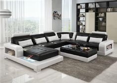 6145 Black and White Leather Sectional Sofa | FurnitureGalleryNYC.com