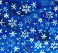"""Snowflake on Blue Fabric  Five - 6""""  Cotton Fabric Block Quilt Charm  5 Pieces Cute Christmas Fabric  # 301-519 by AlwaysInStitchesCo on Etsy"""