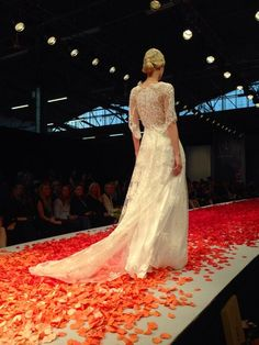 """""""The back on 'Julia' is gorgeous with Guipure lace 3/4 sleeves from #ClairePettibone"""" - Inside Weddings"""