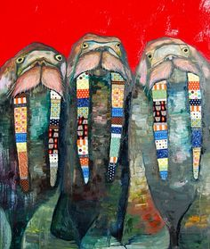 """Beautiful Walrus Tusks  2012  oil and mixed media on recycled wood  43.25"""" x 36""""  thick oil paint with fabric and ribbons in a bright heirloom red.  c) 2004-2013 Eli Halpin"""