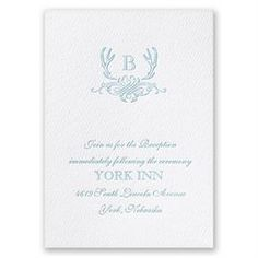 Easily personalized and shipped in a snap! Featherpress wedding invitations like this Antler Crest design from Invitations are more affordable than letterpress.