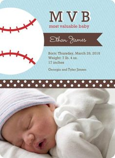 Blue And Brown Baseball Birth Announcement birth announcements sports, baseball birth announcements #baby #newborn