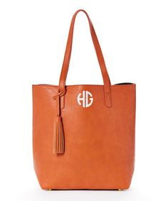 Look what I found on #zulily! Camel Tassel Initial Tote by Avondale Boutique #zulilyfinds