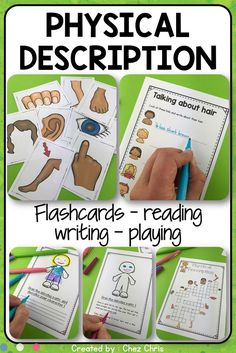 Are you looking for engaging activities on physical description ? This resource is just what you need : you will get flashcards on body parts, reading activities (your students will have to draw according to the description), writing activities (describin Grammar Activities, Preschool Games, Reading Activities, Interactive Activities, Classroom Activities, Classroom Ideas, English Primary School, Middle School English, Teacher Resources