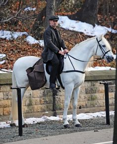 "COLIN FARRELL.   On His White Stallion.  FROM THE SET OF ""WINTER'S TALE."""