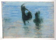 Edouard Vuillard, Deux femmes dansant au bord de l'eau, 1892, pastel sur papier, 20.6 x 28.5 cm