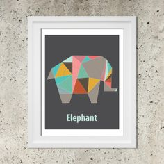 Origami Elephant Geometric Poster, Modern Nursery Art, Instant Download Printable Pdf, Colorful Elephant Illustration, Dorm Decor