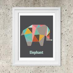 Origami Elephant Geometric Poster, Modern Nursery Art, Instant Download Printable Pdf, Colorful Elephant Illustration, Dorm Decor