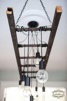 Edison Chandelier, Edison bulb, ladder light, industrial decor, industrial lighting, antique, vintage, rustic, rustic decor