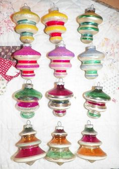 VINTAGE SHINY BRITE GLASS CHRISTMAS ORNAMENT MICA FROSTED UFO'S TORNADO TOPS