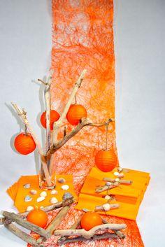 D co de table orange automne on pinterest deco orange for Deco de table orange