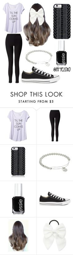 """""""Lavender Tee"""" by lfrye2080 ❤ liked on Polyvore featuring Banana Republic, Miss Selfridge, Savannah Hayes, Alex and Ani, Essie, Converse and Forever 21"""