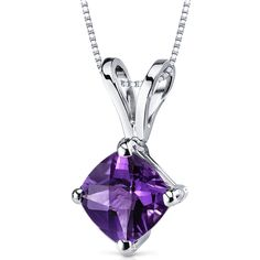 14k White Gold Cushion Cut Genuine Amethyst Solitaire Pendant Necklace
