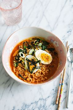Cheater's Spicy Miso Ramen--This quick, umami-rich ramen is made easy and flavorful with a combination of savory white miso paste and spicy gochujang. This is a great way to use up any random veggies in your crisper drawer!