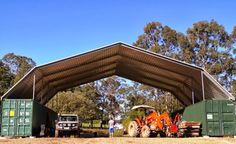 Huge and high shipping container shed large arched tin roof
