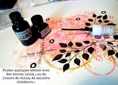 Lime Citron: tutoriel fond de page (gelatos - tampons - encre de chine)