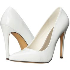 Michael Antonio Lamiss - Patent (White Patent) High Heels ($49) ❤ liked on Polyvore featuring shoes, pumps, heels, white patent leather pumps, white shoes, pointed-toe pumps, pointy-toe pumps and white heel pumps
