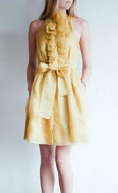 Robert Rodriguez Mustard Organza Dress