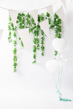 White flagbanner and balloons, perfect for weddings. Shri Ram Wallpaper, Balloons, Wedding Decorations, Wedding Inspiration, Wreaths, Weddings, Home Decor, Globes, Decoration Home