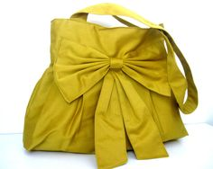 Mustard Yellow Bag with Double Straps and Bow.    By: Marbled on Etsy