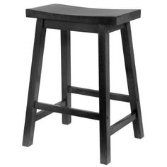 "Furniture - Contemporary Saddle Seat 24"" wood counter height stools in black finish. Solid wood construction of natural hardwood. Ships ready to assemble with all hardware"