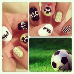 6 Easy Steps Football Nails Soccer Nail Art Designs