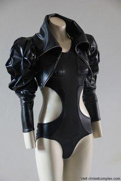 Black Bodysuit Medieval Crusade Pvc Cross Crucifixion Swimwear Lingerie Leotard Dance Gothic Goth Chrisst Unique Fashion SPECIAL ETSY PRICE. $175.00, via Etsy.