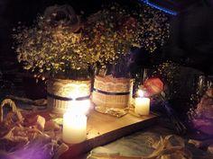Centros de mesa, vista de noche  #boda #vintage